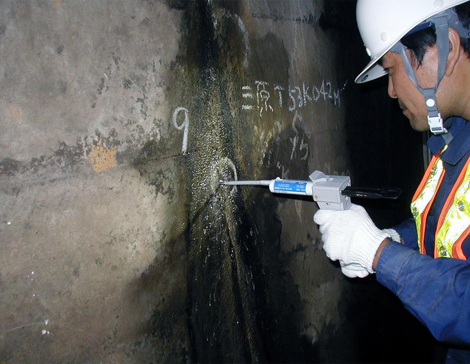 Y751の湿潤面施工